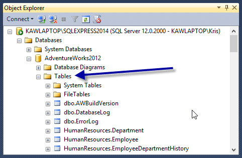 Object Explorer Tables