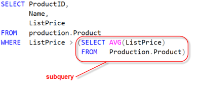 example of a subquery in a column list