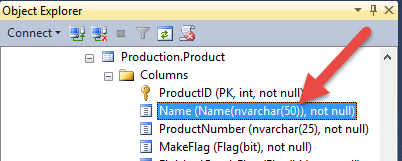 VARCHAR definition shown in SQL Server Management Studio