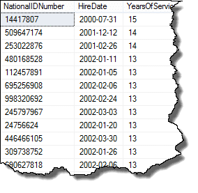 Results using DATEDIFF