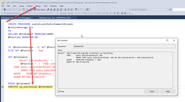Debugging Dynamic SQL