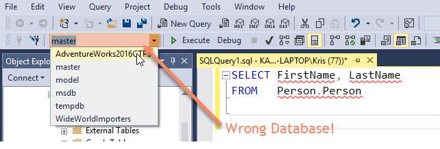 Common SQL Mistakes - Master is Selected