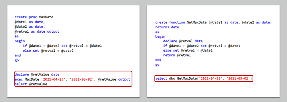 Calling a User Defined Function in SQL and a Stored Procedure