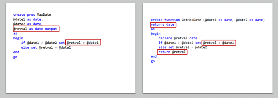 Returning Values in Users Defined Functions