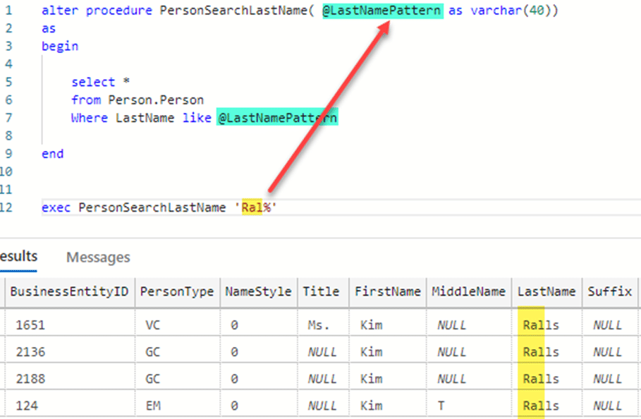 SQL Variables in a query within a Stored Procedure